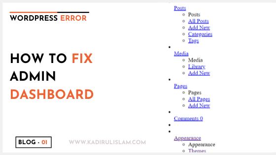 How to fix admin dashboard when not displaying correctly